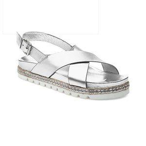 J/Slides NYC Lee Metallic Silver Sandals Sz 10